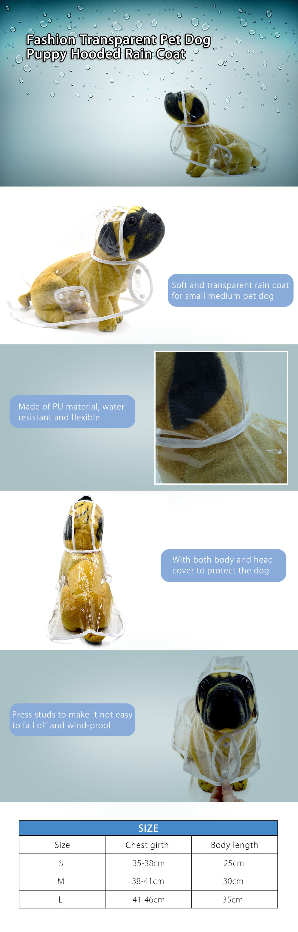 Fashion Transparent Pet Dog Puppy Hooded Rain Coat Rainwear