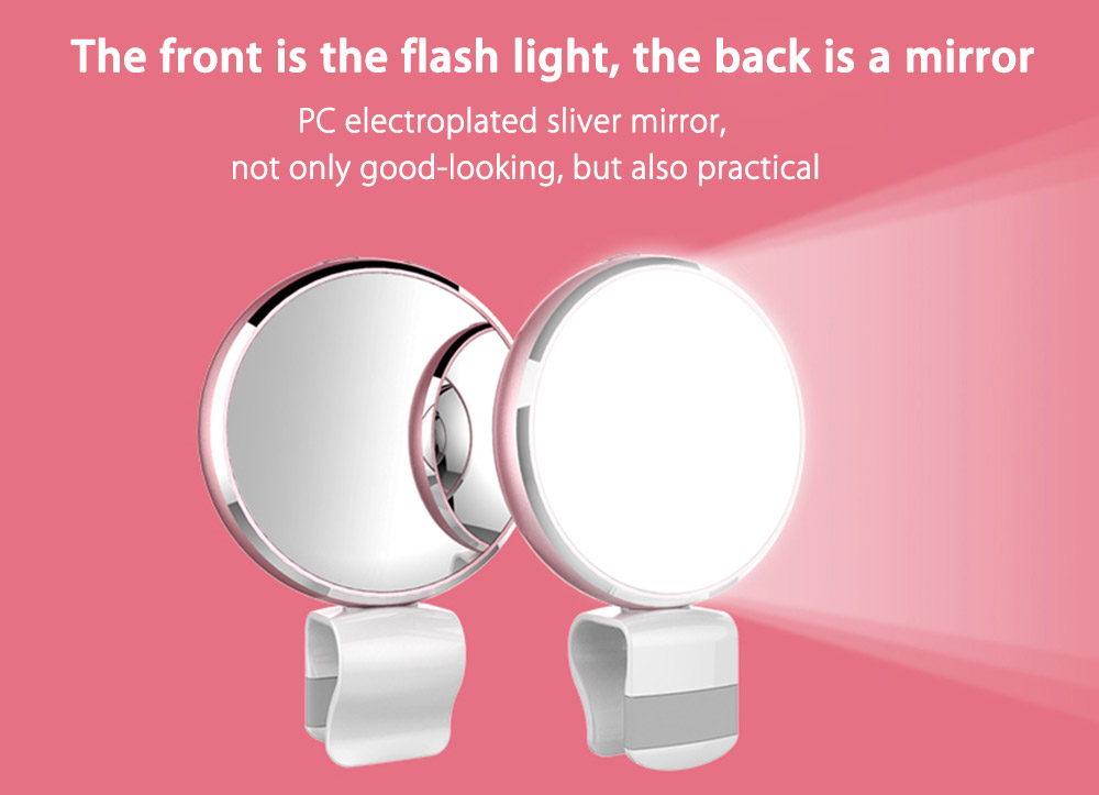 BR34 Seven Colors Selfie Flash Fill-in Light with Mirror for Universal Phone