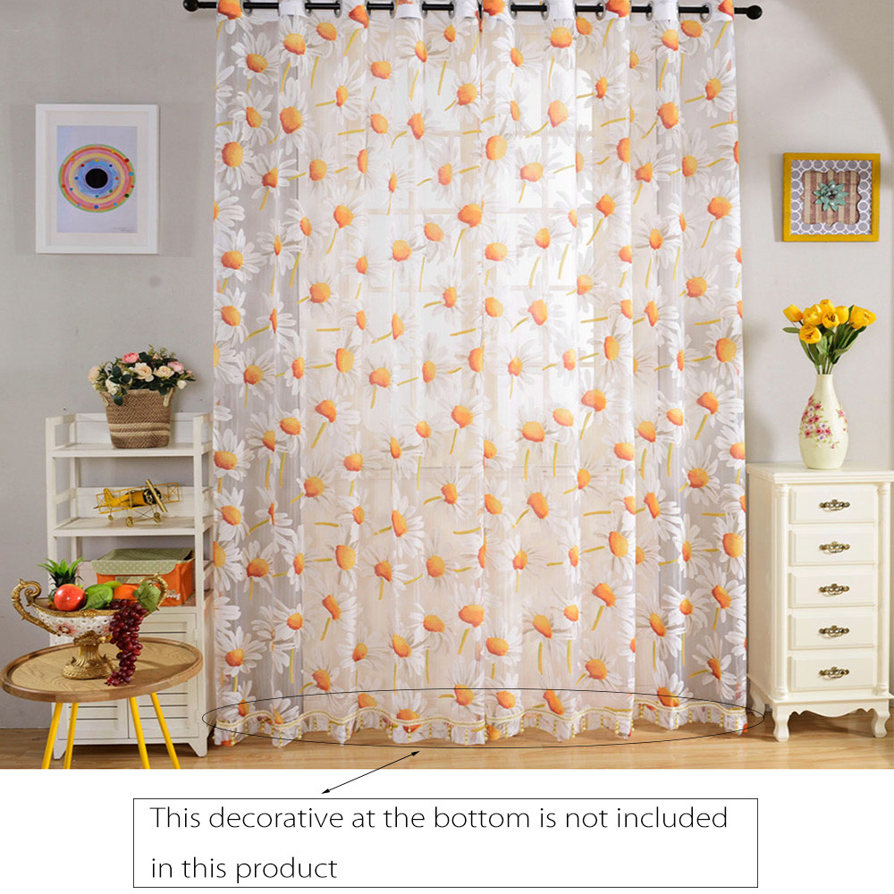 270cm x 100cm Floral Rustic Tull Voile Door Window Screen Curtains Panels Drapes