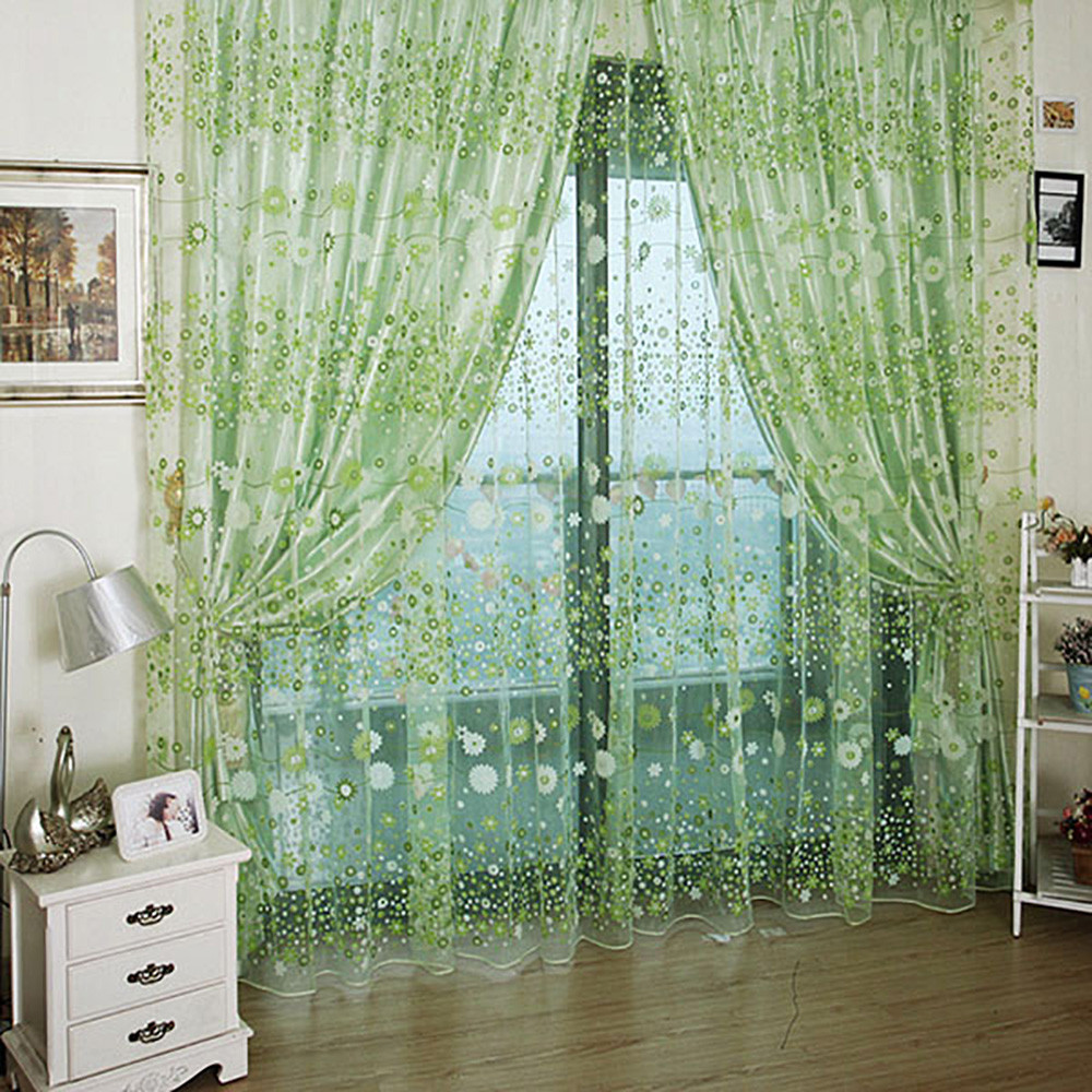 100 x 270cm Chiffon Gauze Voile Wall Room Divider Floral Printed Window Curtain