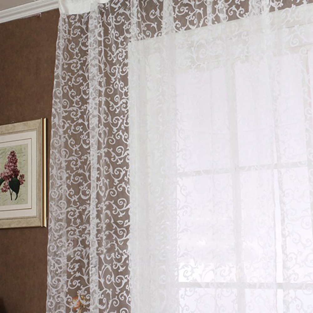 100 x 270cm Flocking Floral Printed Sheer Wall Room Divider Window Curtain