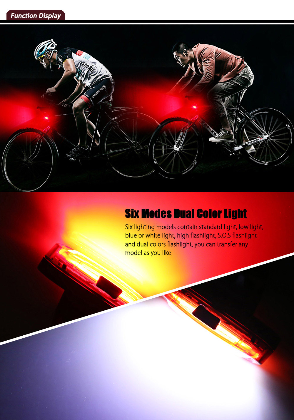Water Resistance Road Mountain MTB Cycling Dual Color Flashlight Tail Light Rear Lamp for Night Bike