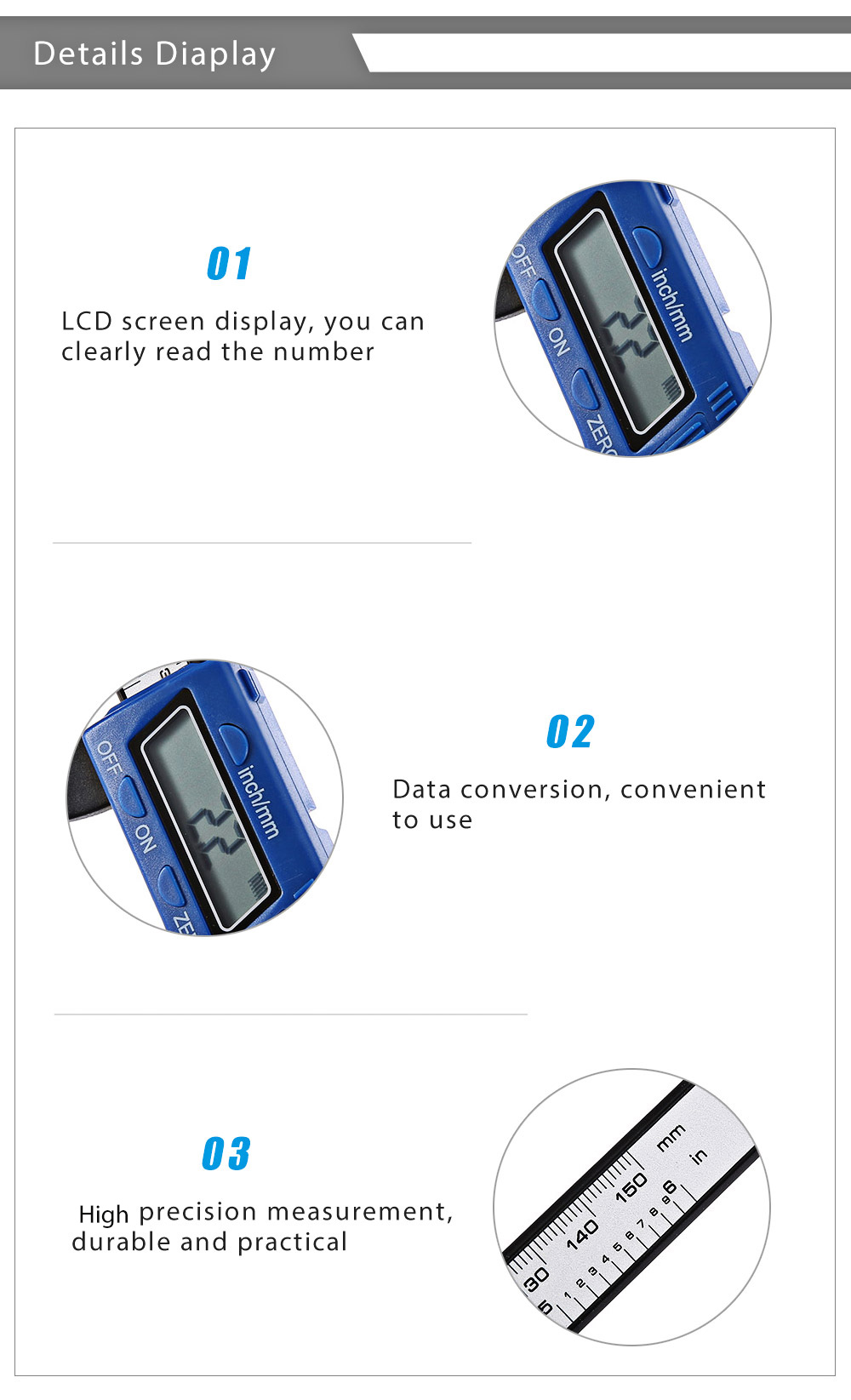 Digital Electronic Millimeter Thickness Caliper Gauge Paint Tester Diagnostic Tool