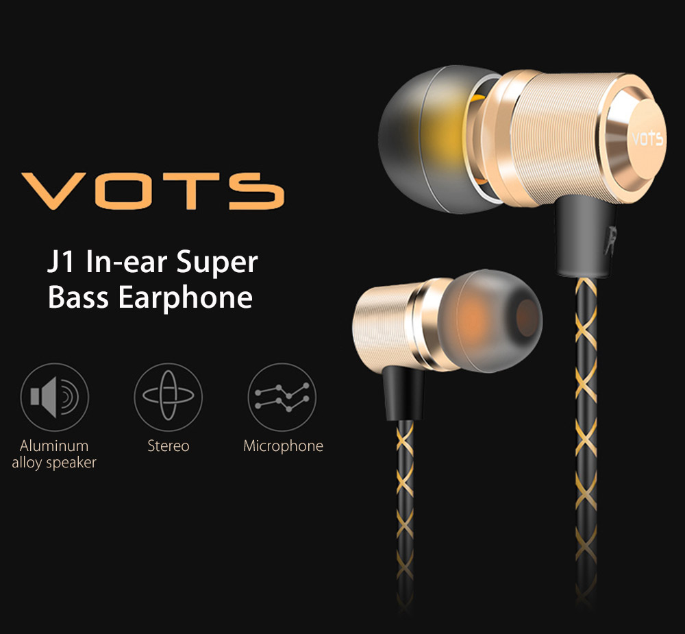 Vots J1 In-ear Metal Stereo Super Bass Earphone with Microphone
