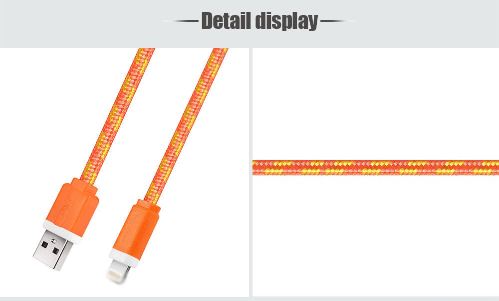 1M Colorful Nylon Braided 8 Pin Transfer Data Sync Line Charging Cable for iPhone 6 / 6S / 6 Plus / 6S Plus