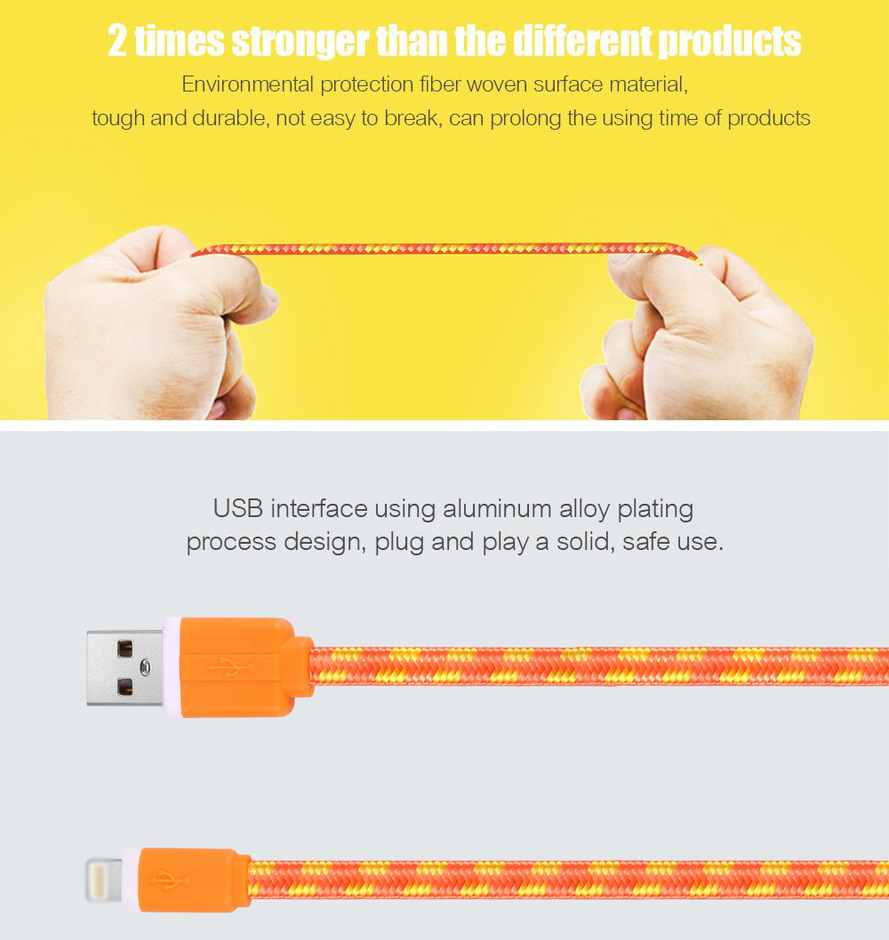 2M Colorful Nylon Braided 8 Pin Transfer Data Sync Line Charging Cable for iPhone 6 / 6s