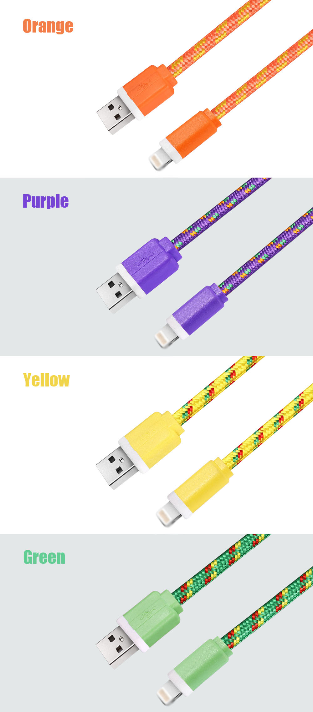 3M Colorful Nylon Braided 8 Pin Transfer Data Sync Line Charging Cable for iPhone 6 / 6s