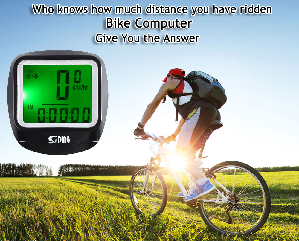 SunDing SD - 568AE Leisure Wired Bicycle Computer Water Resistant Cycling Odometer Speedometer with LCD Backlight