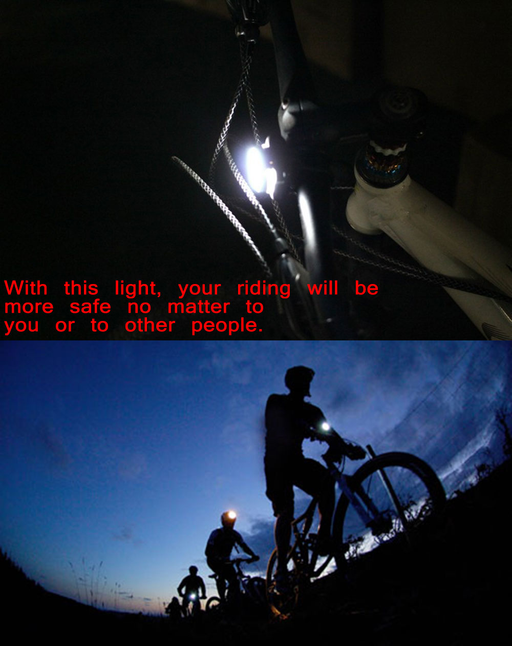USB Rechargeable Bike Front Light Caution Lamp Night Torch