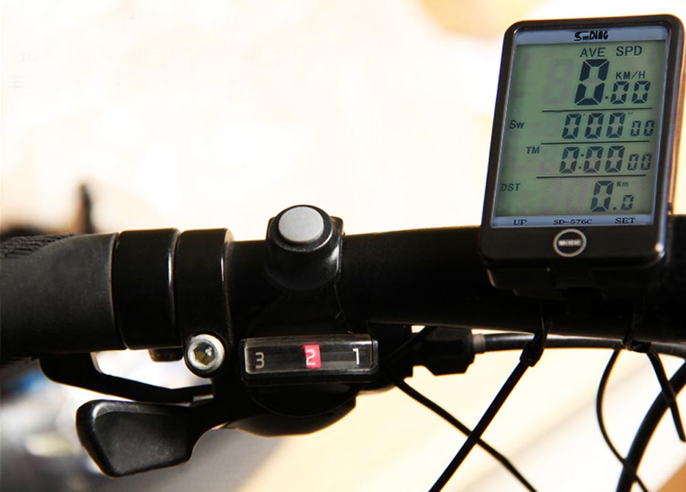 Sunding SD - 576C Waterproof Large Screen Mode Touch Wireless Bicycle Computer Odometer with LCD Backlight