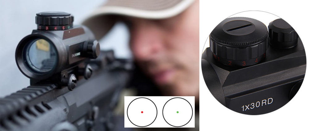 1 x 30RD Tactical Holographic Red Dot Riflescope Sight Scope for Shotgun Rifle Hunting Airsoft