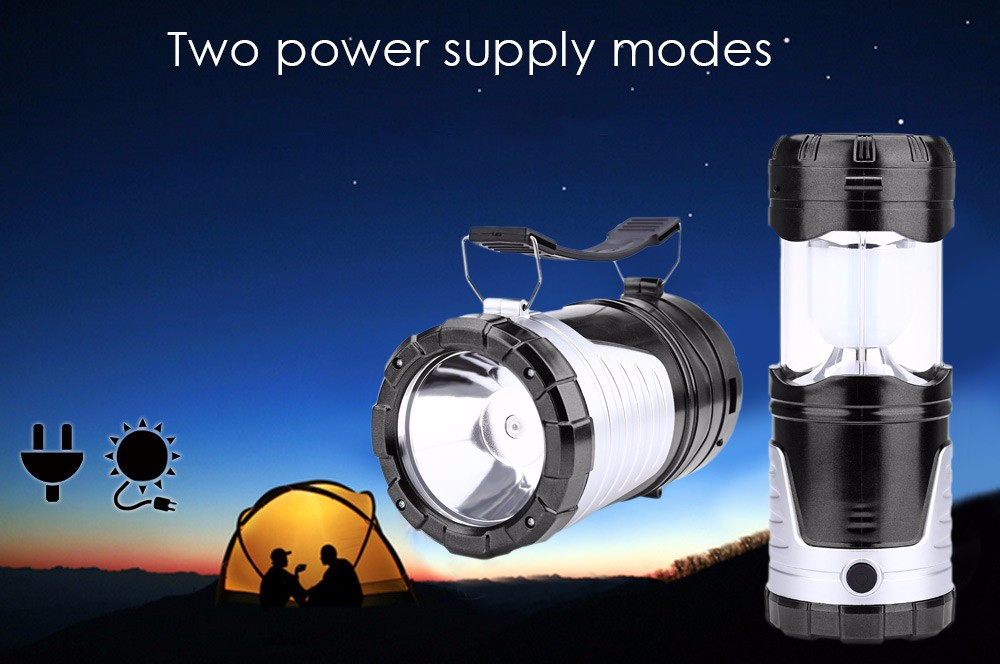 AC 220V 5W 300LM Solar Powered Lantern 2 Modes LED Stretchy Camping Light