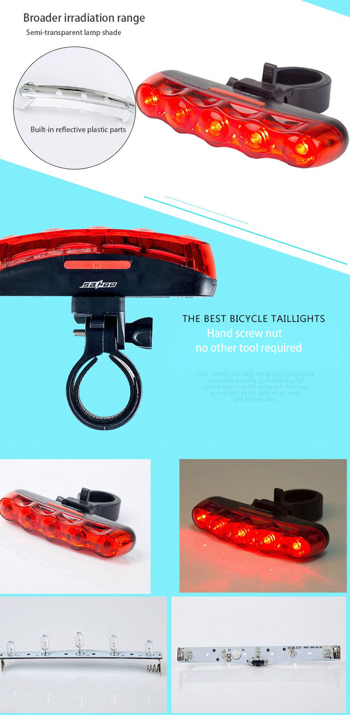 SAHOO 5 LED 7 Modes Bicycle Taillight Bike Warning Lamp Cycling Safety Riding Necessary