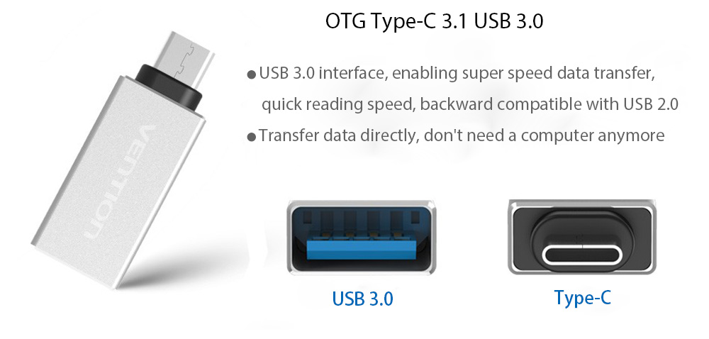Original Vention OTG Type-C 3.1 to USB 3.0 Connector