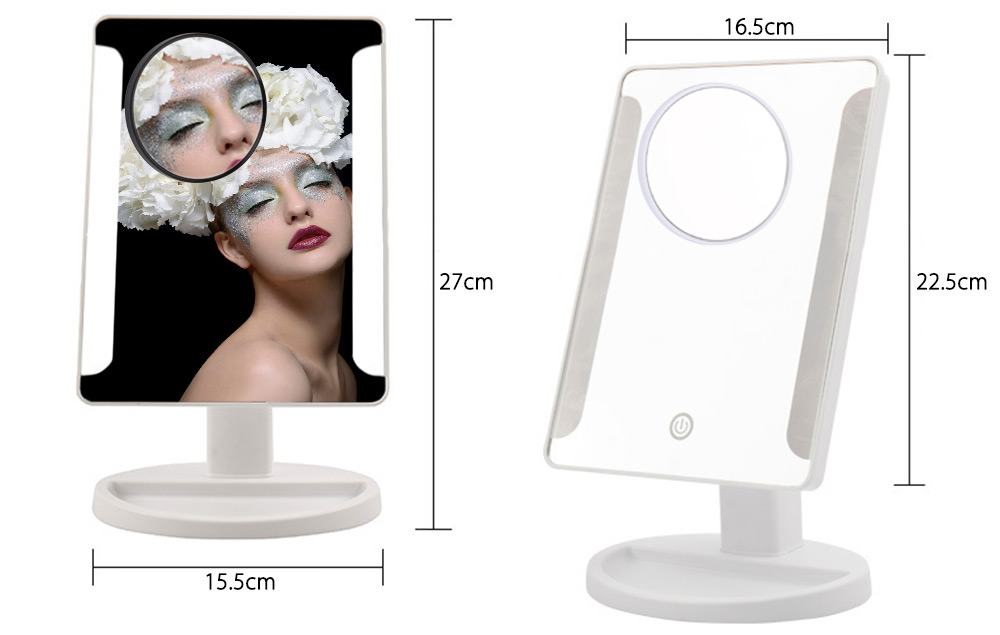Fashion 36 LED USB Power Portable Folding Toilet Lighted Makeup Mirror with Magnifier