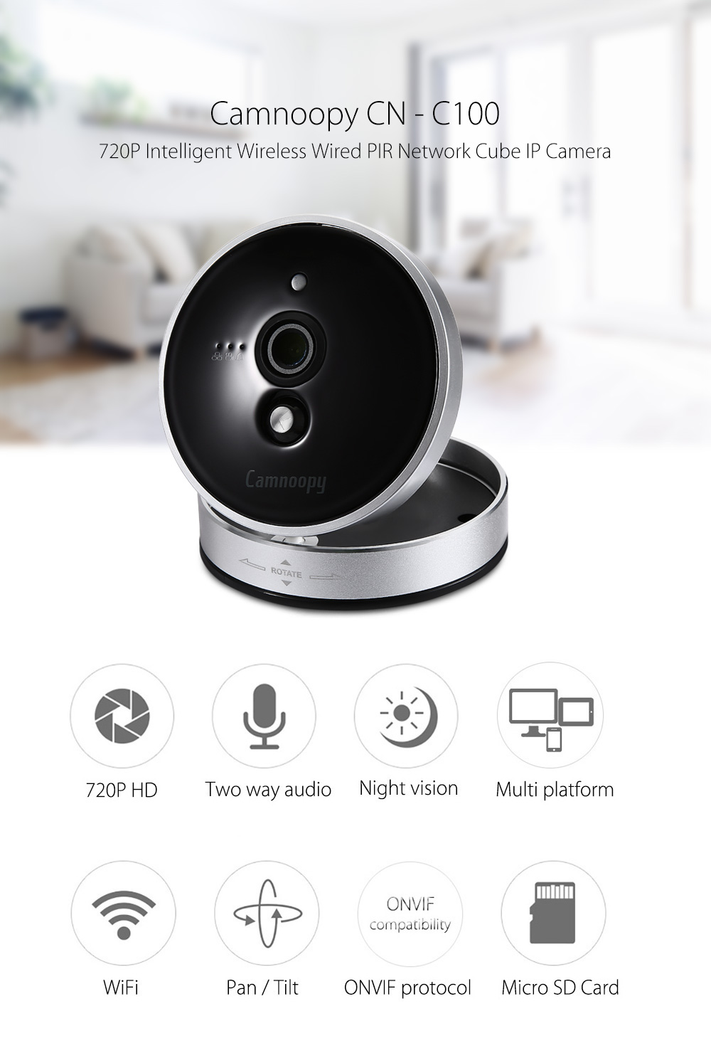 Camnoopy CN - C100 720P Intelligent Wireless Wired PIR Network Cube IP Camera