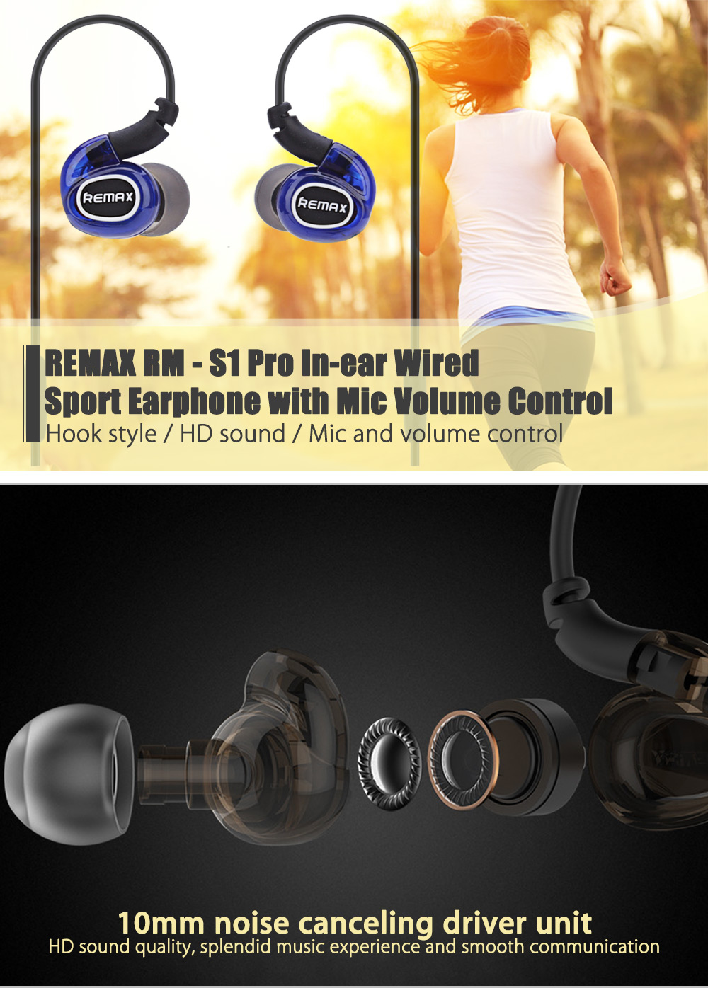 REMAX RM - S1 Pro In-ear Wired Sport Earphone with Mic Volume Control