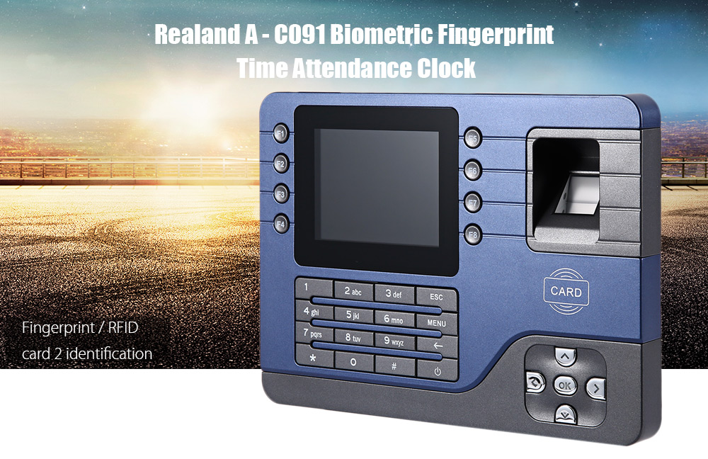 Realand  A - C091 TFT Fingerprint Time Attendance Clock Employee Payroll Recorder 2 Identification Mode for Company School