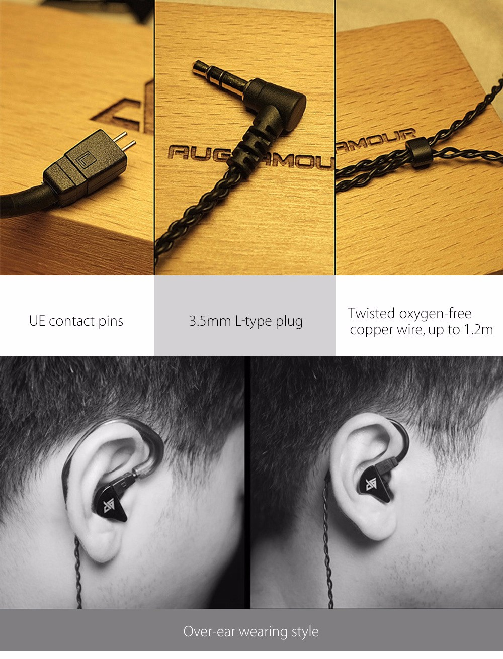 AuGlamour R8 Single Moving Coil Stereo HiFi Cord Removable In-ear Earphone
