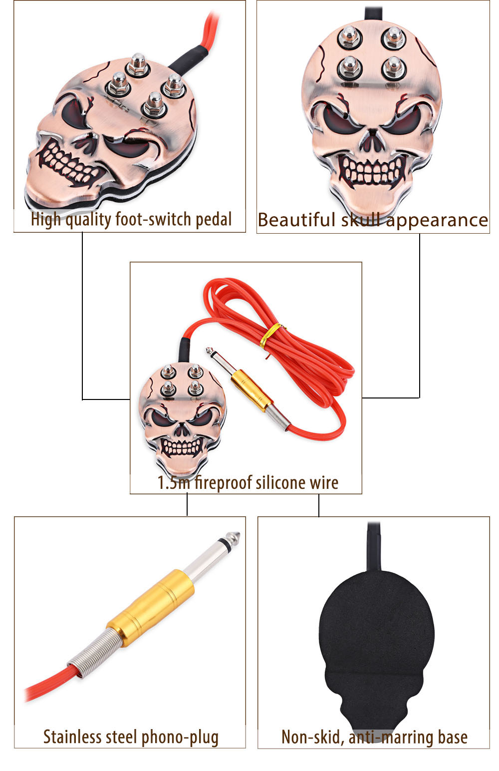 Tattoo Machine Power Supply Foot Pedal Switch Skull