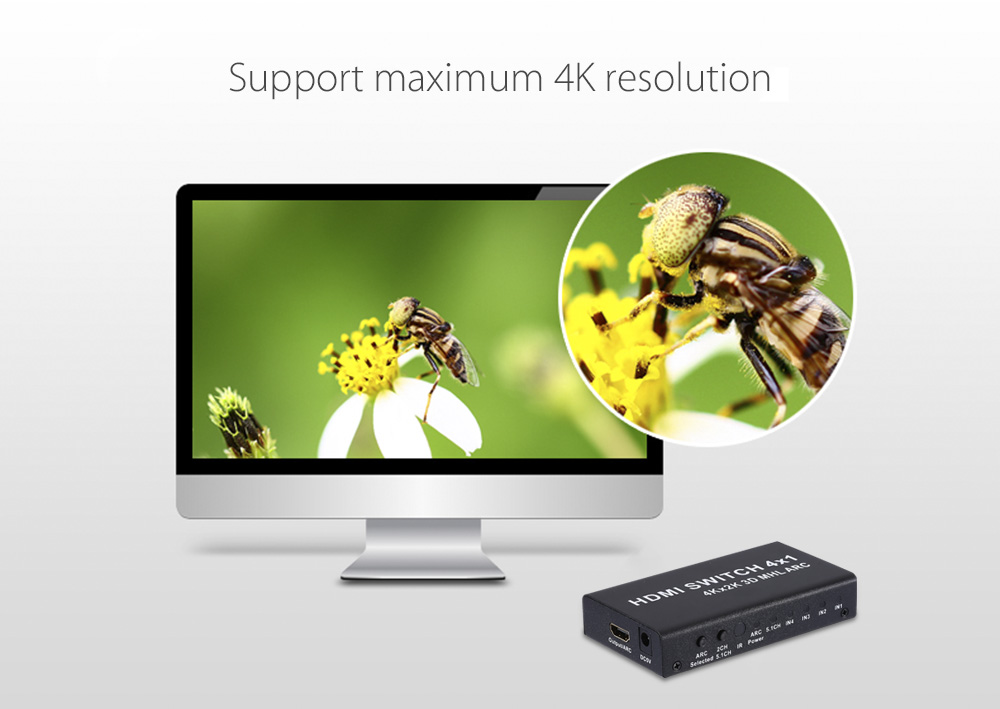 HDMI Switch 4 Input 1 Output  4K 3D Switcher with Remote Control