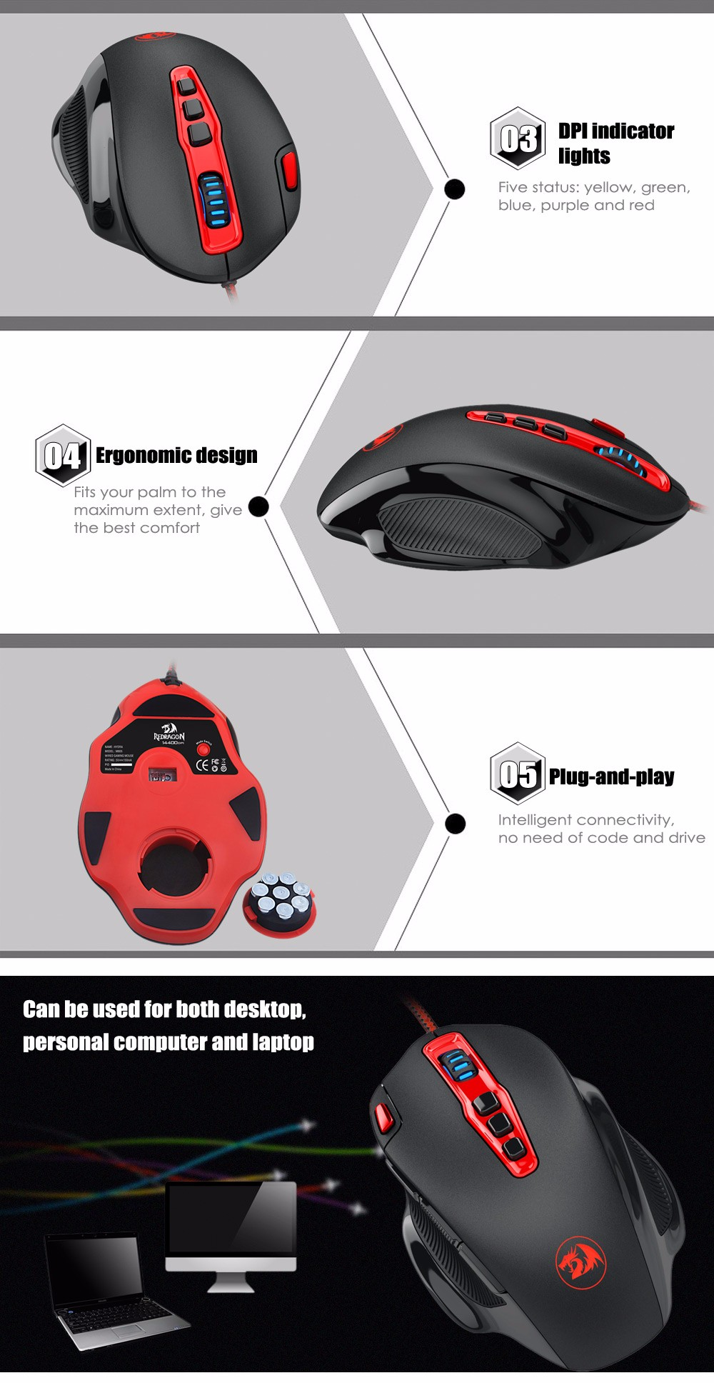 REDRAGON M805 Wired Optical Game Mouse with LED Light Side Button
