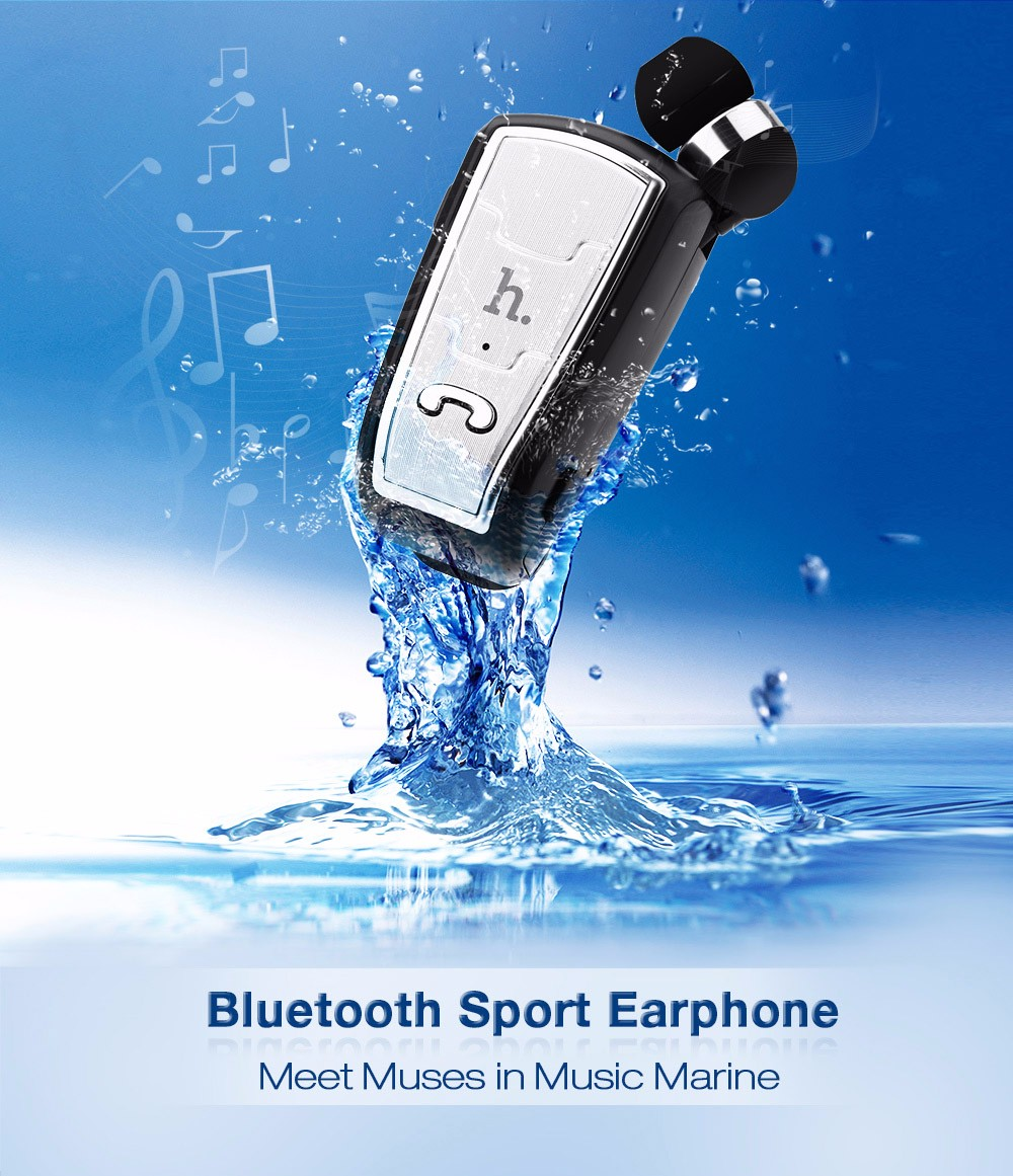 HOCO E4 Bluetooth V4.0 Compatible Retractable Clip-on Headset Clear Voice