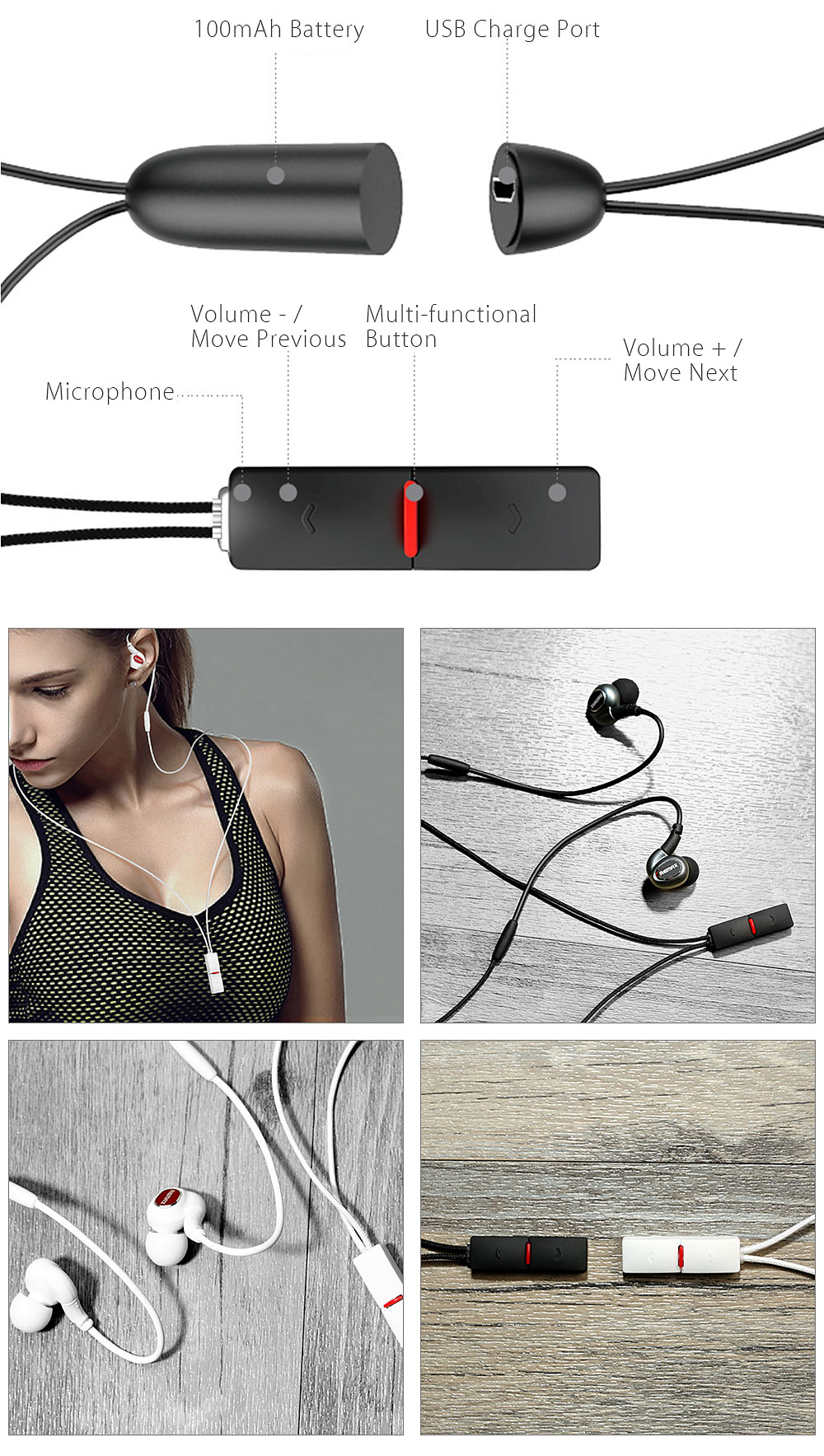 Remax RB - S8 Ear-band Bluetooth 4.1 Sport Headphone USB Charge Port