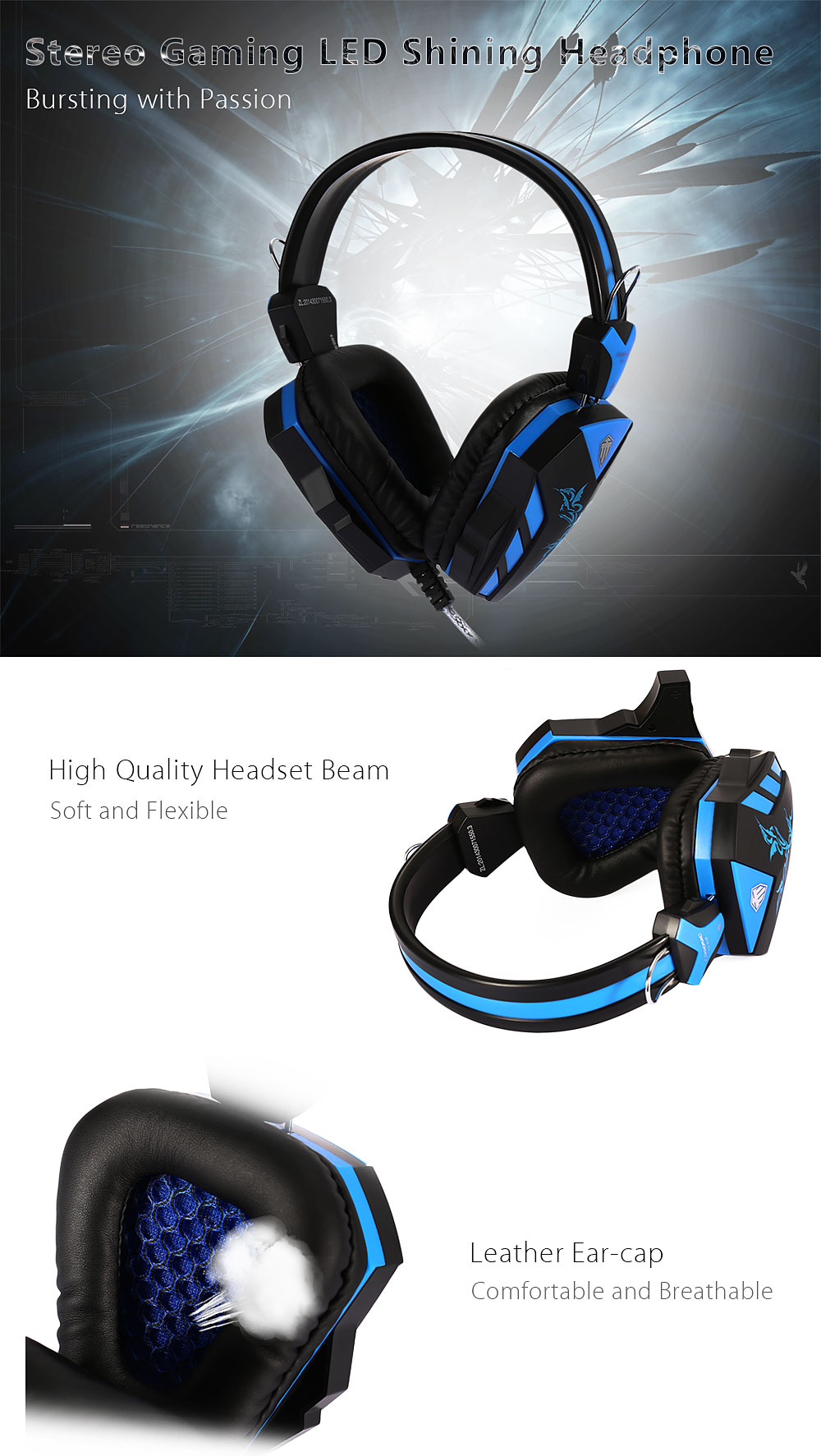 COSONIC CD - 618 Stereo Gaming LED Shining Headphone USB Port
