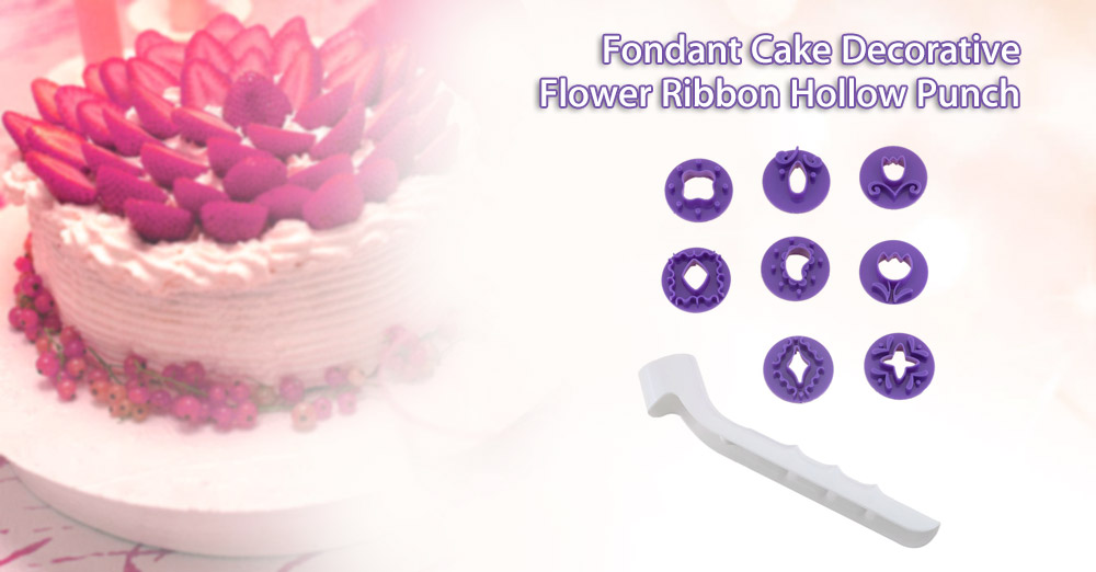Fondant Cake Decorative Flower Ribbon Hollow Punch Set