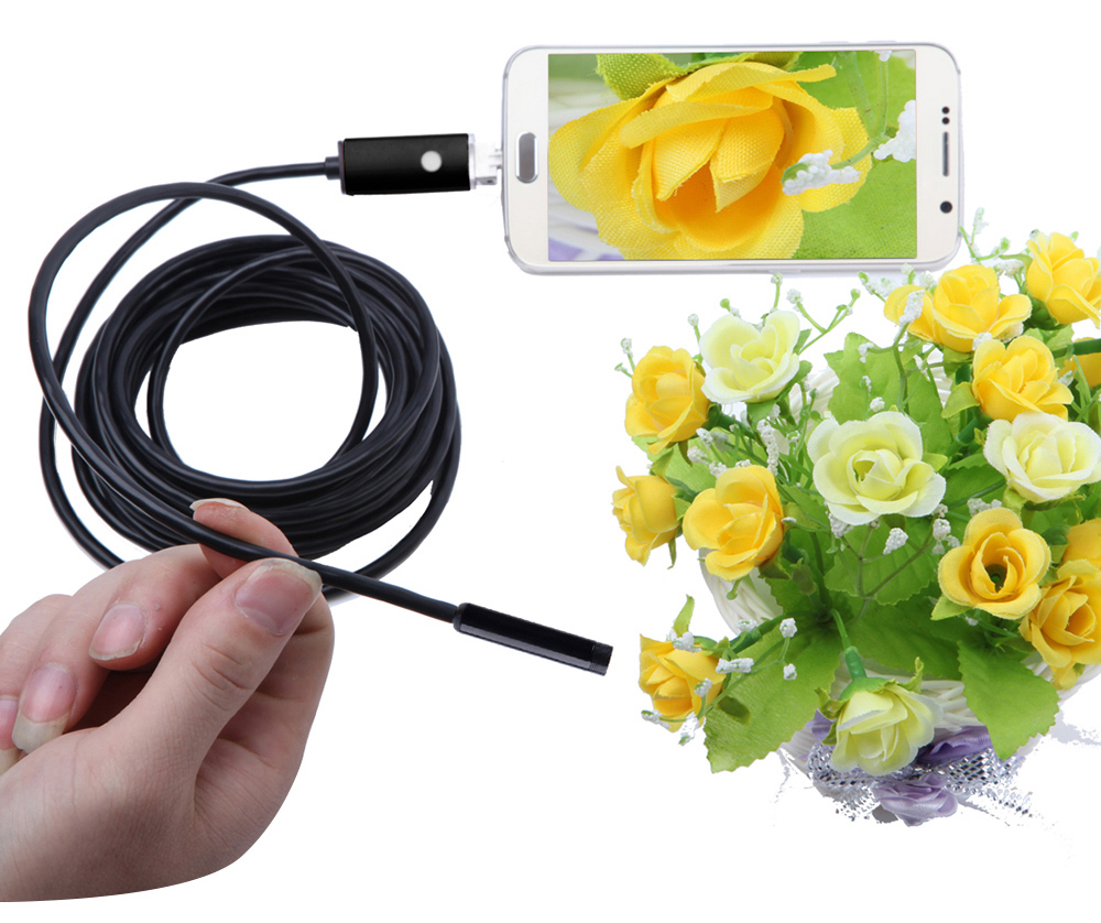 AN99 2-in-1 USB Micro Connector 7MM Endoscope Borescope Inspection Wire Camera