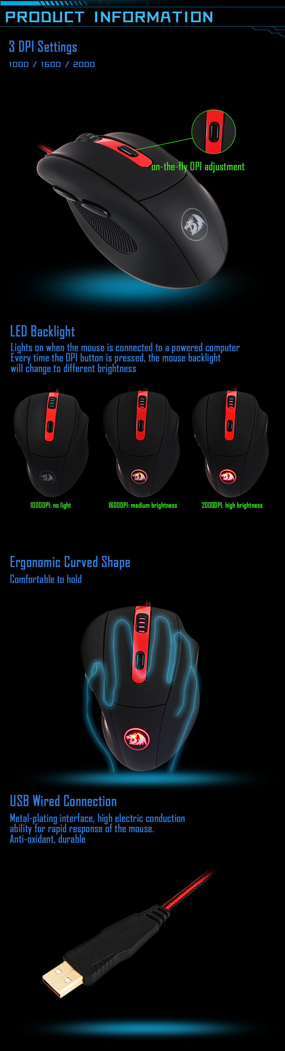 Redragon M605 2000DPI USB Wired Optical Gaming Mouse