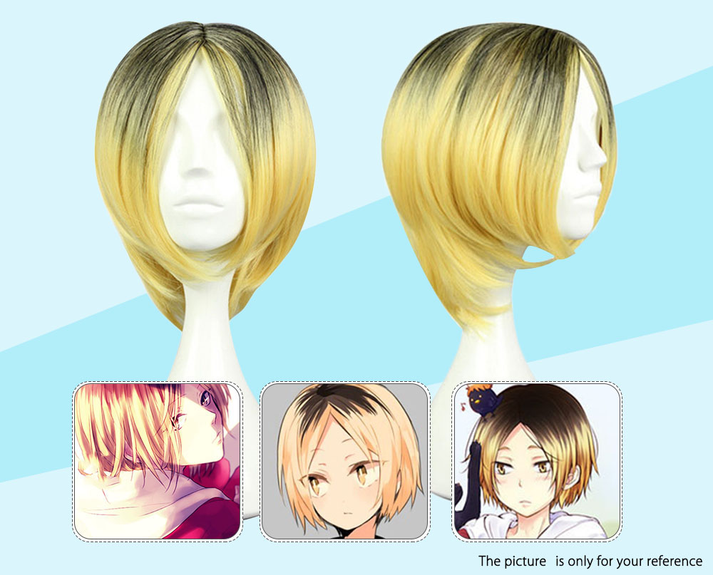 Haikyuu Gradient Flaxen Wigs Hair Cosplay for Volleyball Club Nekoma Kozume Kenma Figure