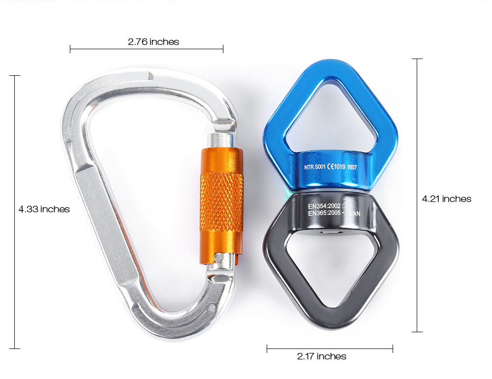 Rock Climbing Rotational Rope Swivel Connector with 2pcs D-shaped Screw Locking Carabiner
