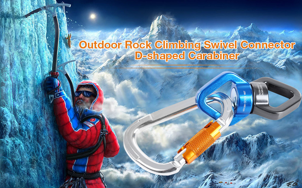 Rock Climbing Rotational Rope Swivel Connector with D-shaped Screw Locking Carabiner