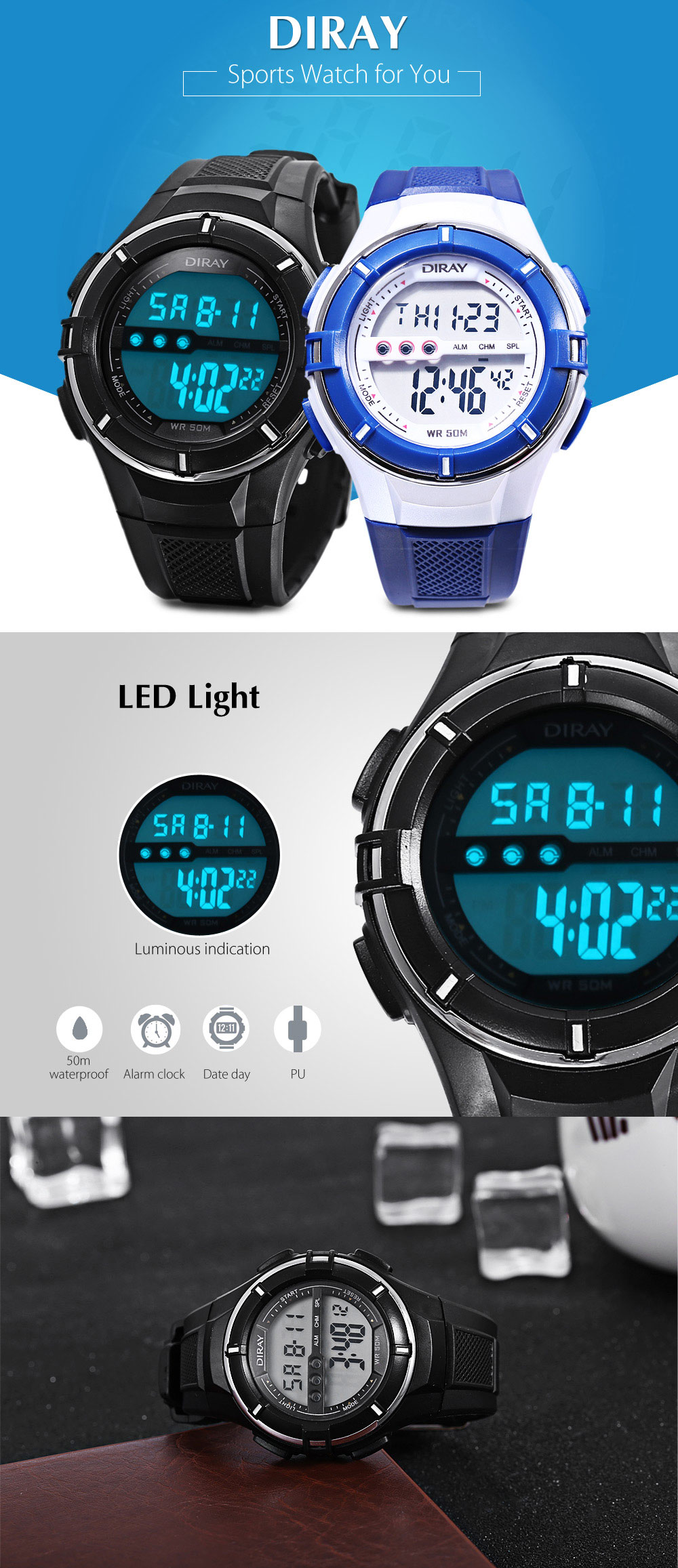 DIRAY DR - 205L Children LED Digital Watch Date Day Display 50m Water Resistance Sports Wristwatch