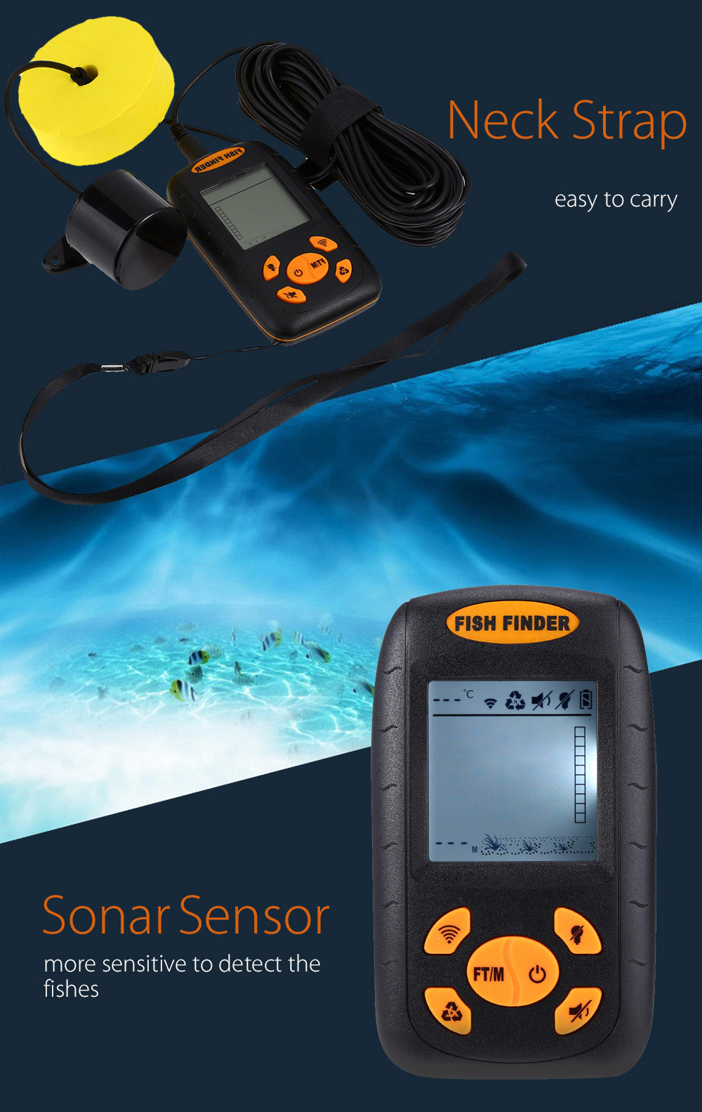 XF-01 Portable Sonar LCD Fish Finder Wire Alarm 100M