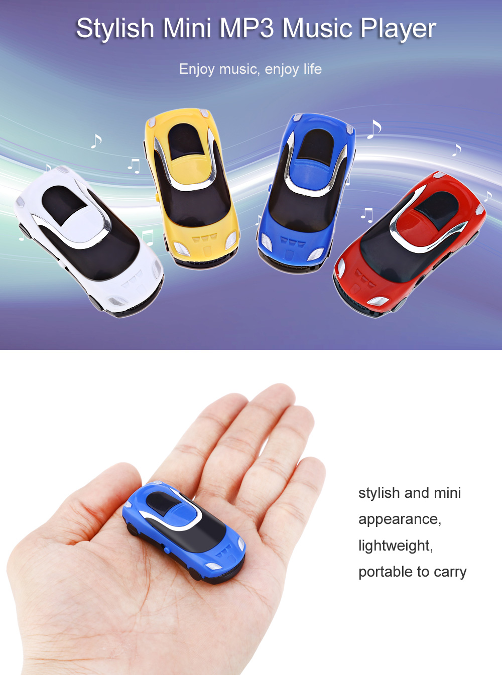 Stylish Car Style Portable MP3 USB Music Player with TF Card Slot