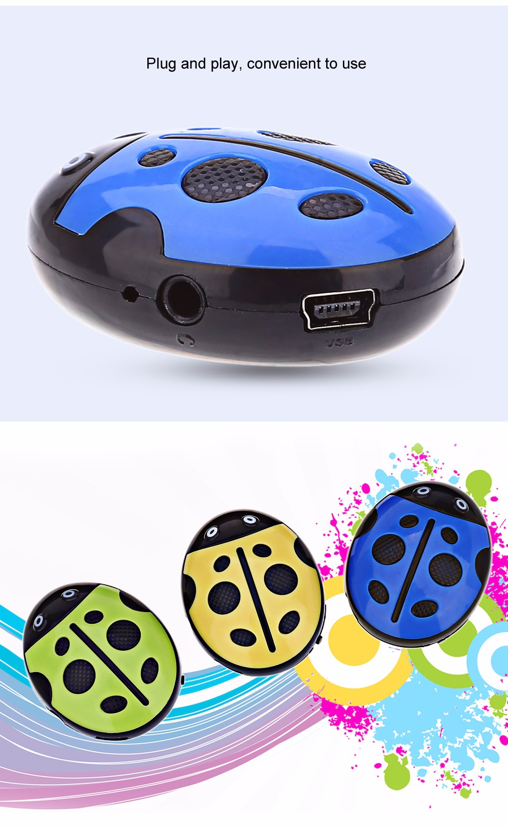 Stylish Beetle Style Portable MP3 Music Player with TF Card Slot