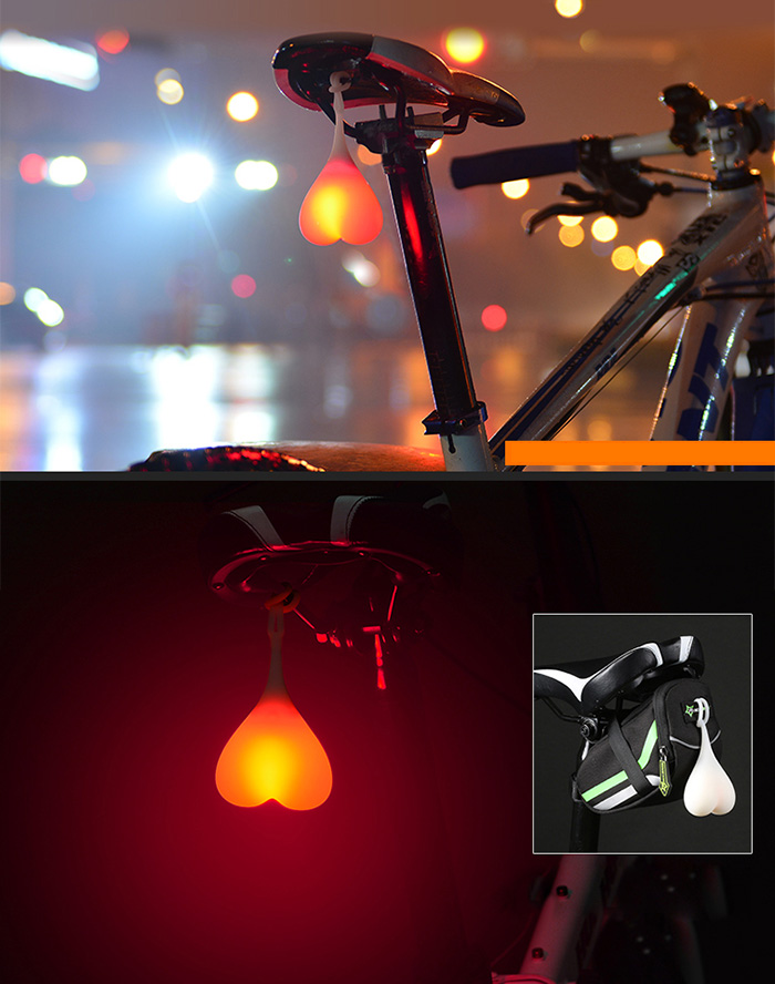 MTB Bike Cycling Warning Water Resistant 3 Modes Heart Shape Rear Tail Bicycle Light Egg Lamp