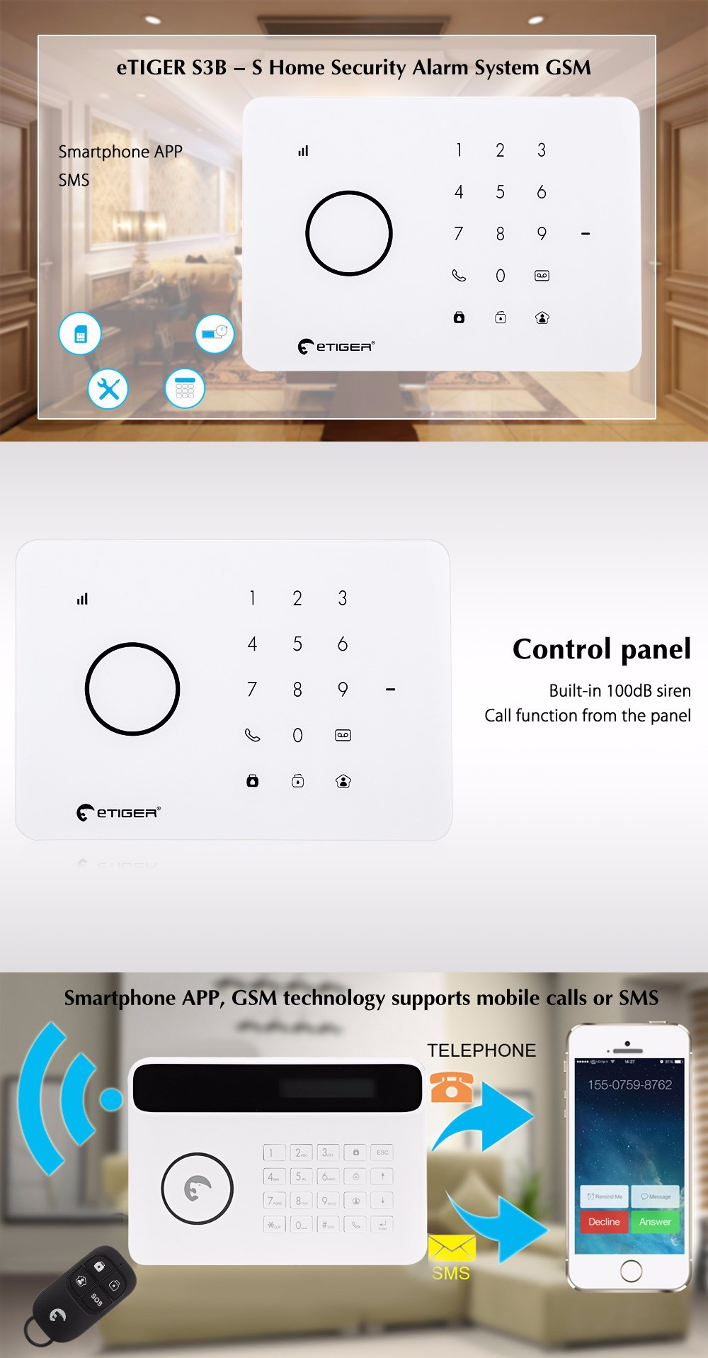 eTIGER S3B - S GSM Wireless Infrared Home Security Alarm System