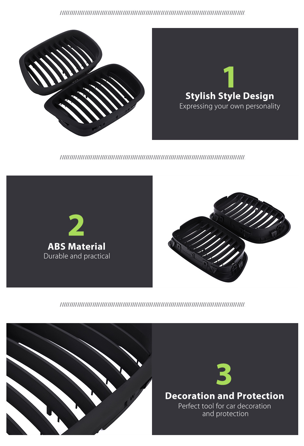 Paired ABS Stylish Car Air Inlet Grille Decoration Protection