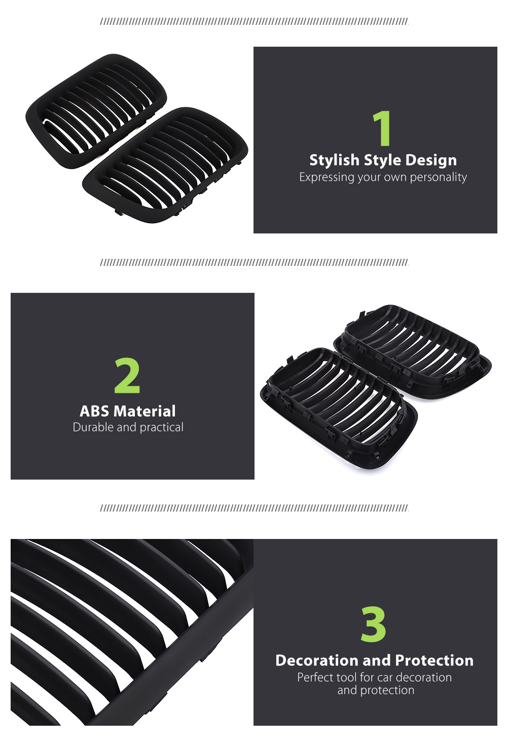 Pair of ABS Stylish Car Air Inlet Grille Decoration Protection