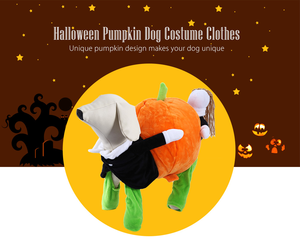 Funny Halloween Novel Pumpkin Dog Costume Clothes