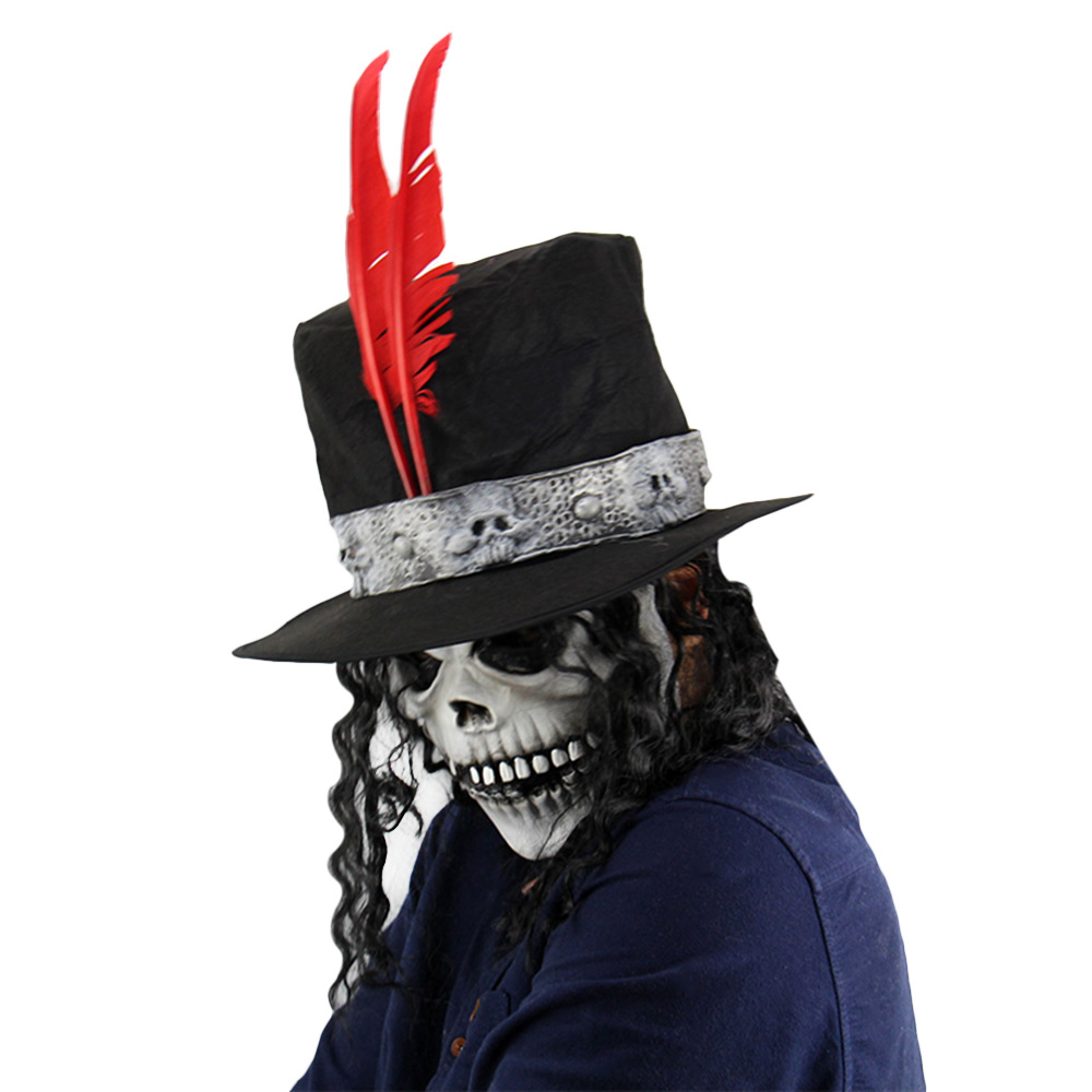 Horror Ghost Latex Mask Long Wig Count Skull Masquerade Halloween Party