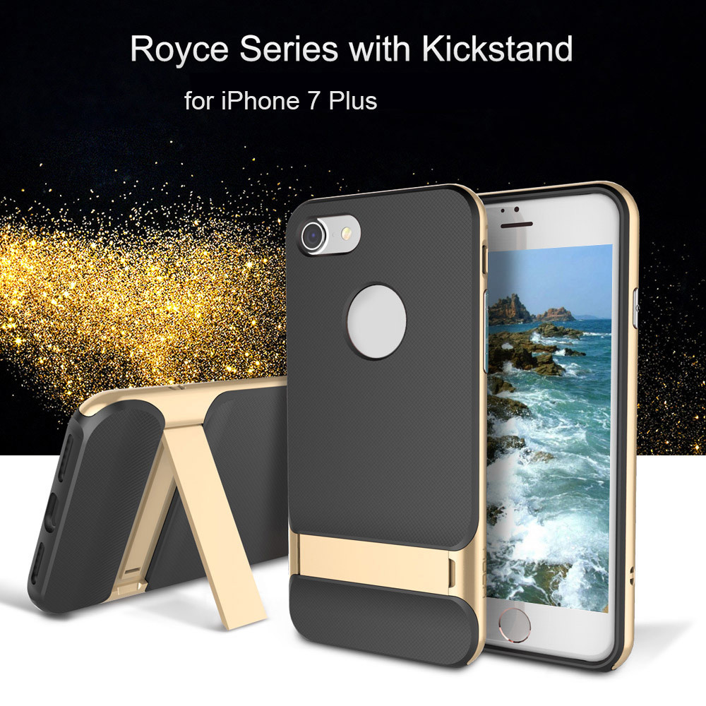 ROCK Royce Series with Kickstand Business Style Protective Shell TPU Back Cover for iPhone 7 Plus