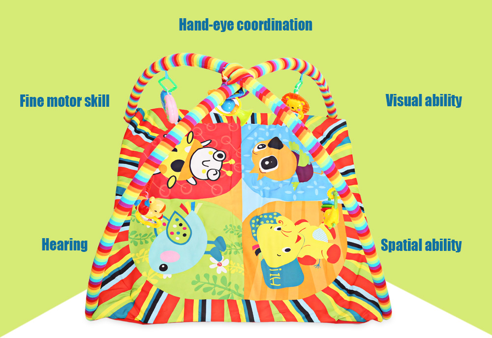 Kids Soft Play Mat Cartoon Animal Gym Fitness Blanket with Frame Rattle Developmental Toy