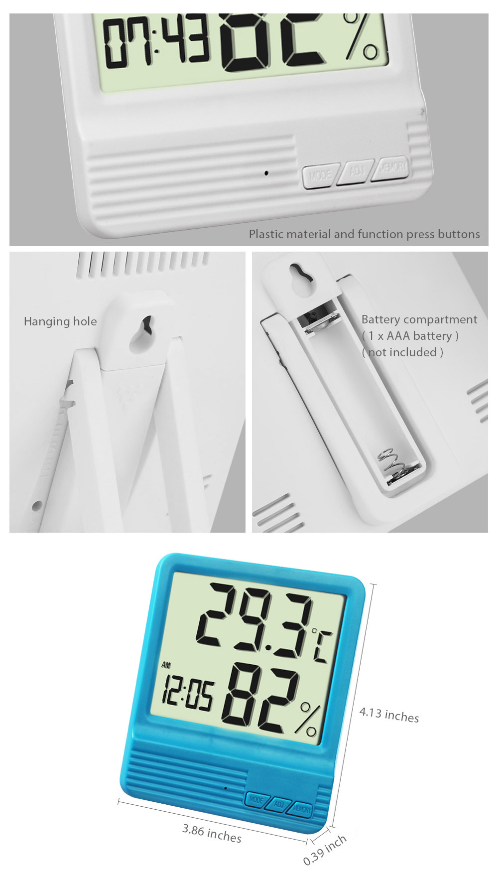 High Precision Digital Electronic Thermometer Hygrometer Temperature Humidity Clock Weather Station Indoor
