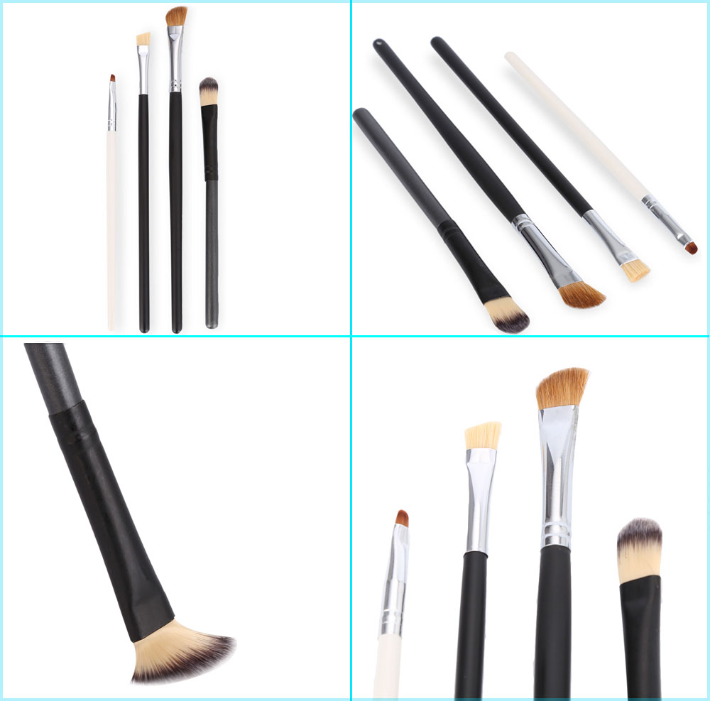 4pcs Foundation Eyeshadow Eyebrow Eyeliner Blending Brush Set
