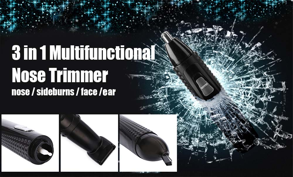 Kemei KM - 309 3 In 1 Rechargeable Electric Nose Hair Trimmer Ear Sideburns Cutter Cleaner